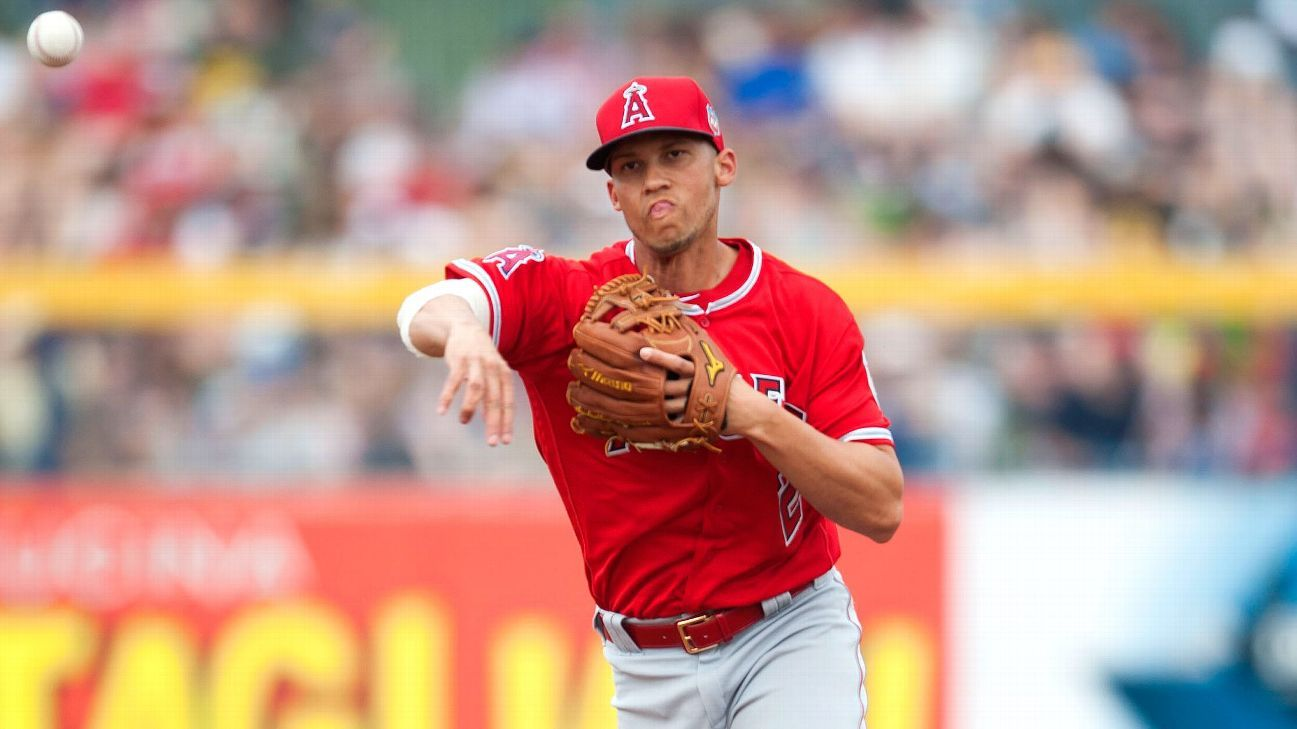 Andrelton Simmons of Los Angeles Angels exits vs. Tampa ...