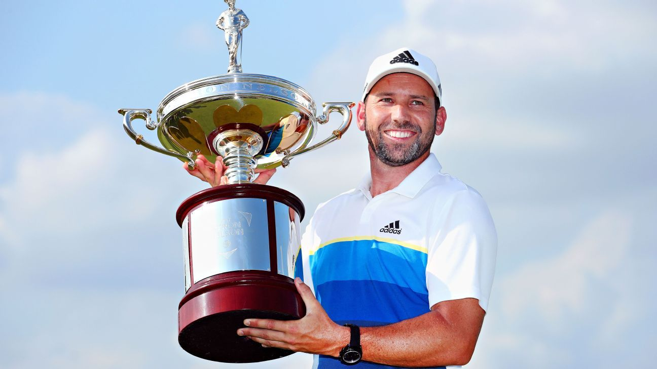 Sergio Garcia with AT&T Byron Nelson trophy