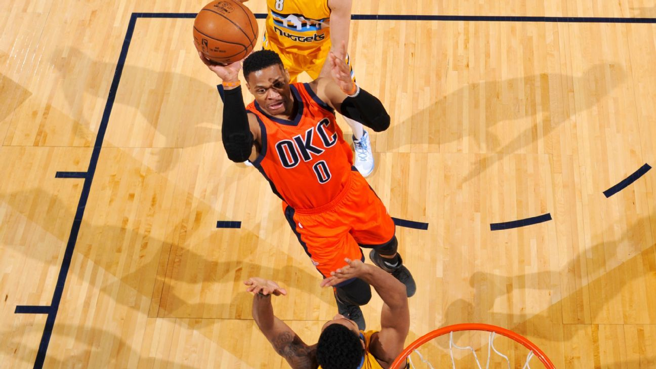 4b547560bb0e45 dailymail.co.uk Oklahoma City Thunder s Russell Westbrook sets NBA record  with 42nd triple-double of season