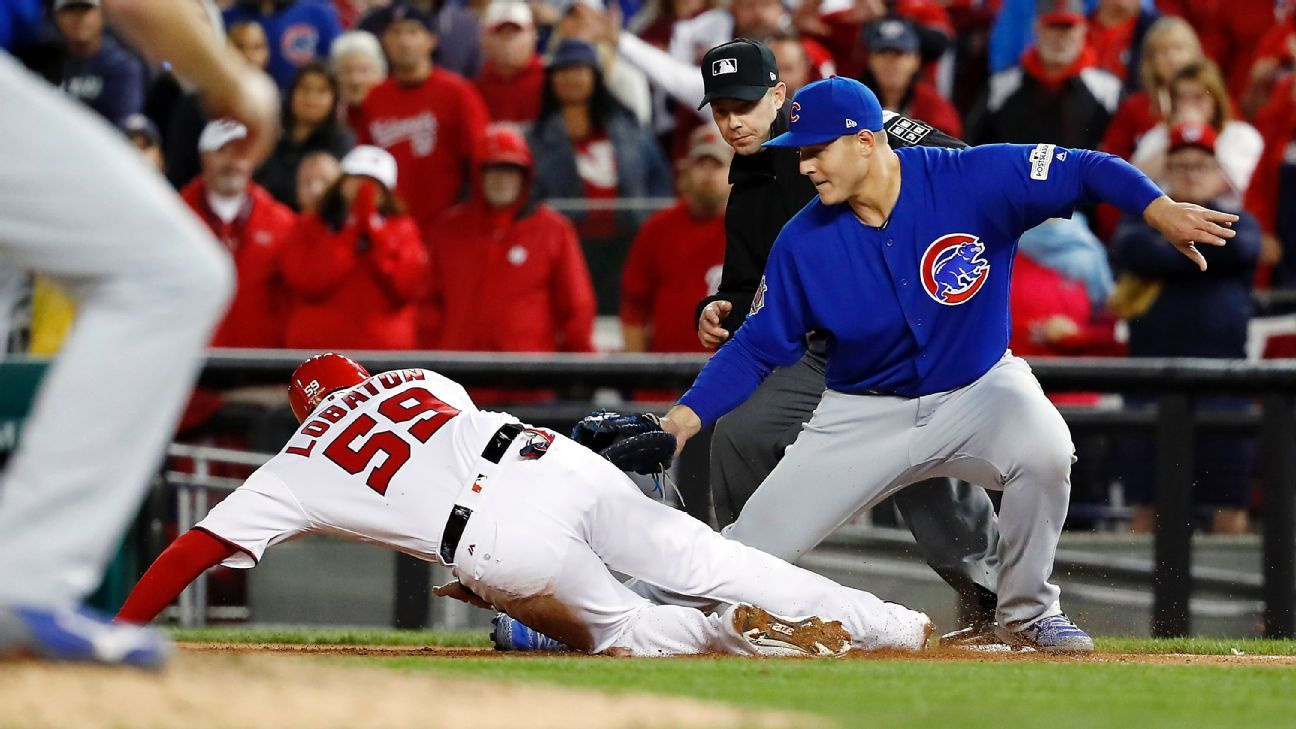 b9b076a43 Anthony Rizzo of Chicago Cubs wasn t sure he got tag down initially on  Nationals  Jose Lobaton (13.99 24)