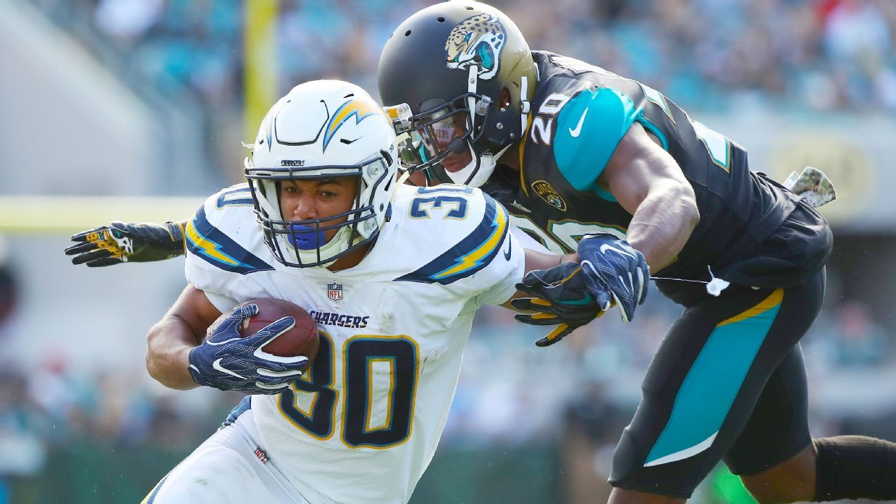 Austin Ekeler plays well early, but Chargers falter in OT giveaway to JagsBlake Bortles - ESPN - JACKSONVILLE - Jacksonville Jaguars - Los Angeles Lakers - Monday Night Football - National Football League - NFL - Philip Rivers - Pouye Language