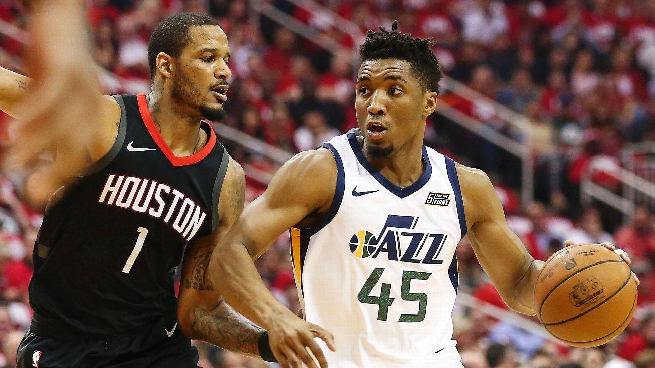 Donovan Mitchell Stats Nba >> Donovan Mitchell of Utah Jazz rocks Houston Rockets with highlight dunk