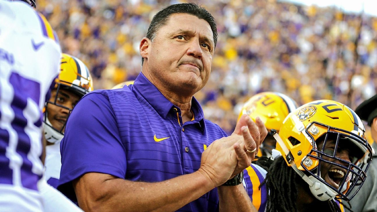 Ed Orgeron LSU Tigers college football coaching hot seat roundtable