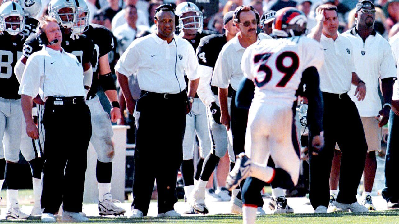 John Elway and Jon Gruden first competed against each other during Elway's final season as a QB and Gruden's first season as coach of the Raiders.