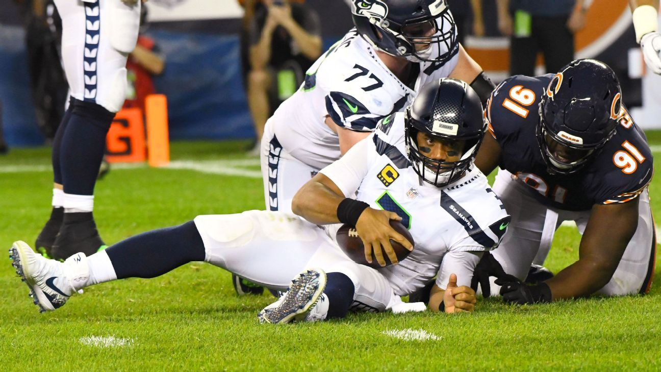Russell Wilson was sacked six times against the Bears and didn't try to run the ball. The Seahawks are now in a 0-2 hole with few answers on offense.