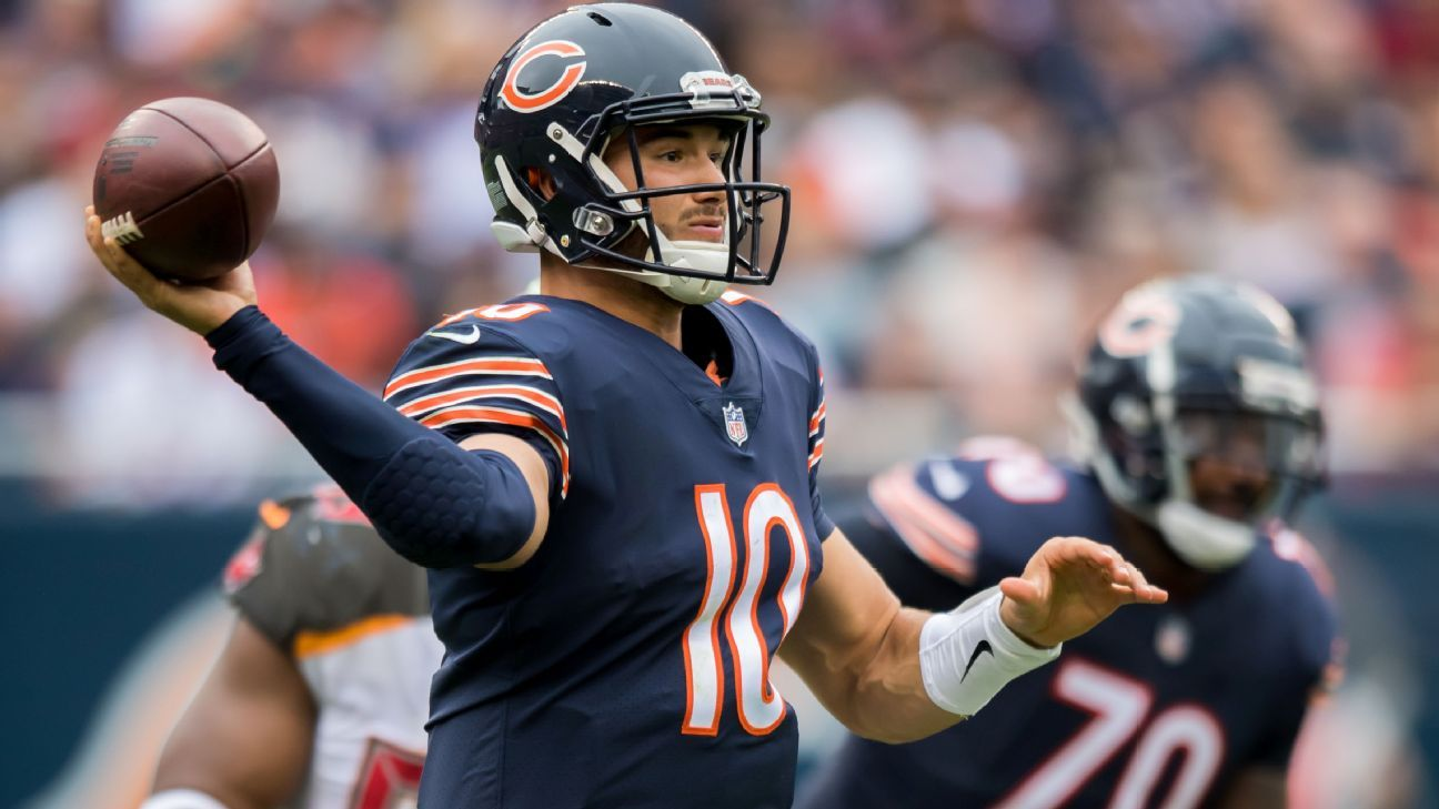Mitchell Trubisky said he will wear an arm sleeve for a second straight game, not wanting to mess with success after throwing six TD passes in the last game with it on.