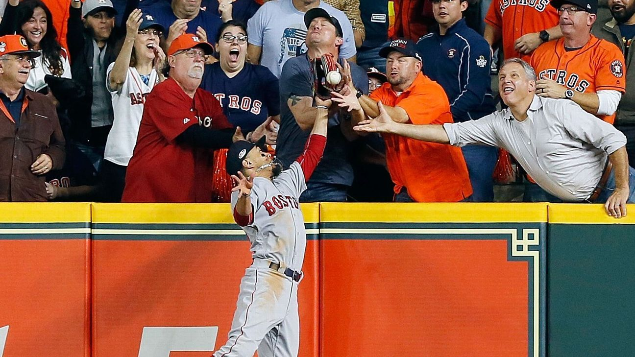 Astros' Jose Altuve ruled out after fan interferes with Mookie Betts' attempt to catch fly ball