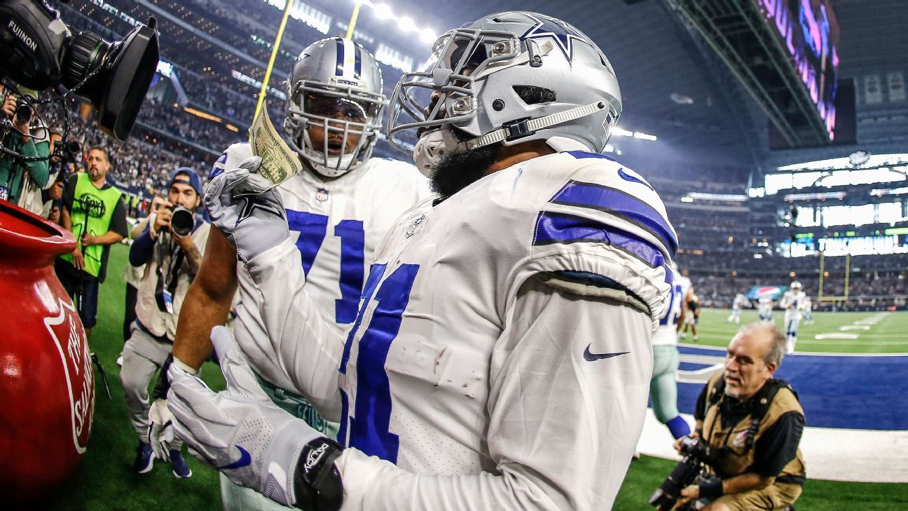 Cowboys running back Ezekiel Elliott is appealing an NFL fine for dropping $21 into the Salvation Army kettle after scoring a touchdown on Thanksgiving.