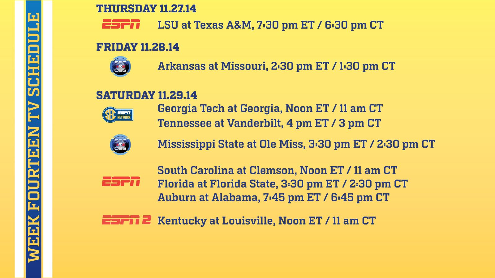 Rivalry Week Schedule