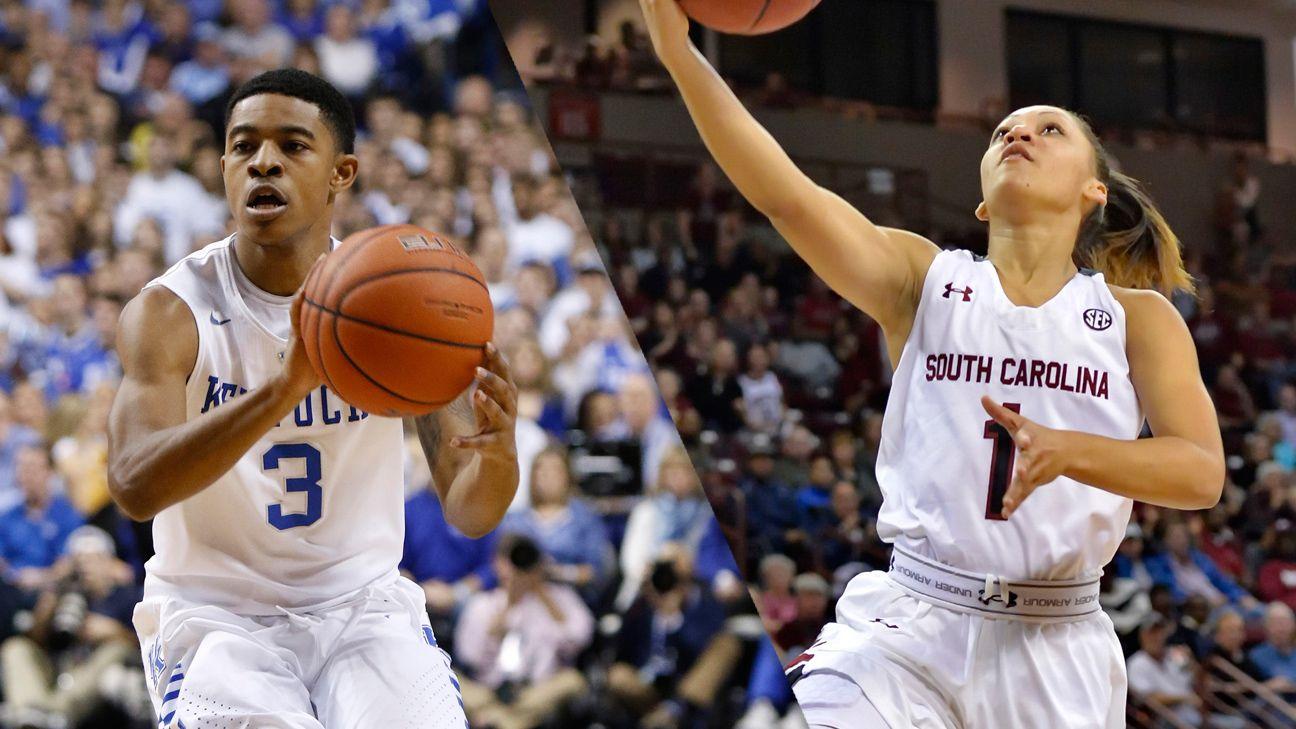 Kentucky men and South Carolina women remain at No. 1