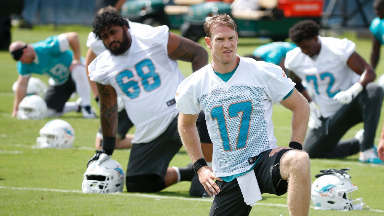 Miami Dolphins QB Ryan Tannehill throws rookie down for a missed task