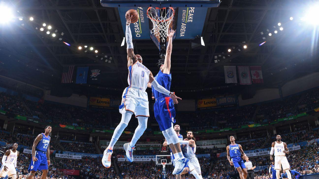 """Russell Westbrook presume la celebración de """"mecer al bebé"""" a menudo en la ruta de Oklahoma City Thunder de Los Clippers"""