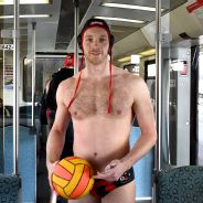 Water polo player strips down
