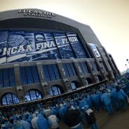 Fans crowd Lucas Oil Stadium