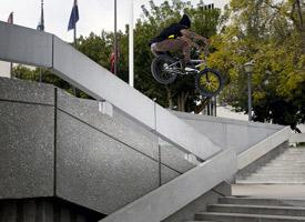 Quincy Dean with a big ledge hop.