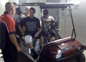 Danny Way leaving the Staples Center floor.