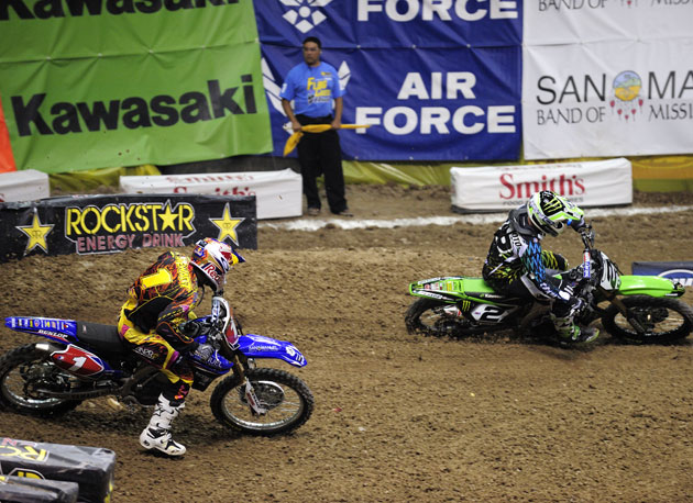 Ryan Villopoto nailed the holeshot in the main event, but after holding the lead for nearly half the race, he succumbed to the unstoppable Stewart.
