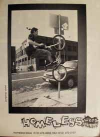 Early Homeless ad featuring James Shepherd doing a vertical peg stall to fakie on a street sign.
