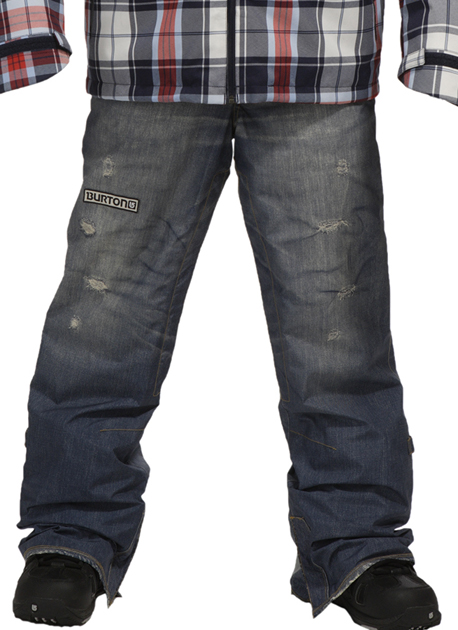 2010 snowboard bottom: Blue jeans. Or, at least, the appearance of blue jeans -- they are actually a two-layer Gore-Tex pant, much softer, and waterproof.