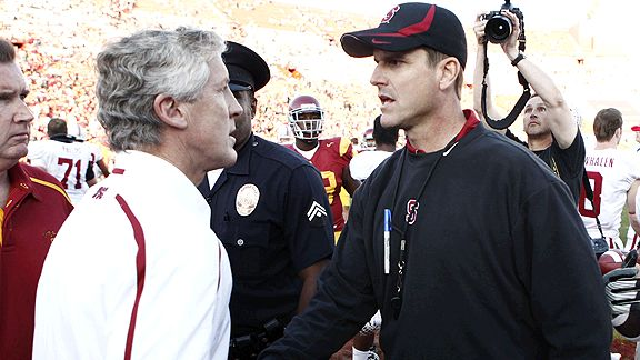 The Pete Carroll-Jim Harbaugh rivalry can be traced to their days as college coaches.