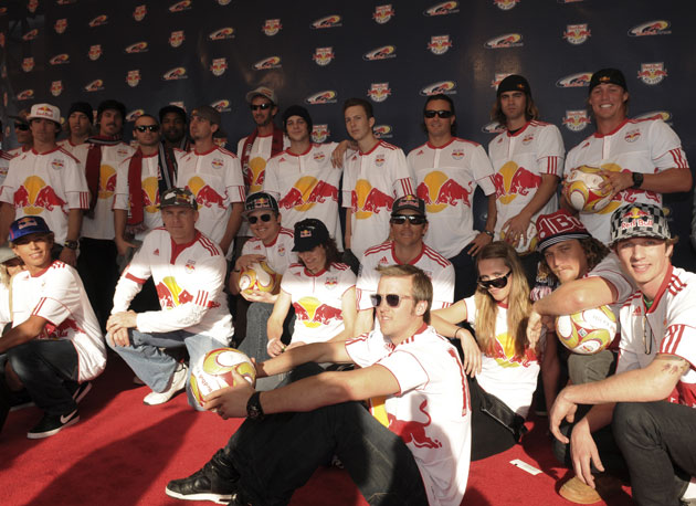 The entire Red Bull team is no joke. Peep Lance Coury and Ryan Sheckler budding up in the middle. How about The Lance and Sheckler Show? Any takers?
