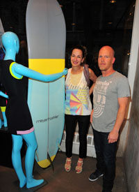 Cynthia Rowley with Thomas Meyerhoffer and his board that lent some inspiration.