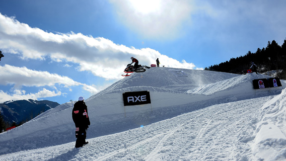 Schultz takes the last jump before taking the Checker Flag during the Adaptive SnoCross Final in '09.