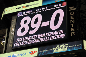 The scoreboard at the XL Center said it all: 89 consecutive wins.