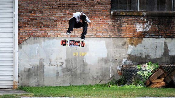 Zack Kuehne blasts a switch heelflip from the loading dock to the pavement.