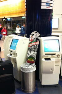 Board bag too heavy? JP ditches a board at the airport and lets his website followers know where to find it.