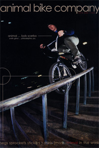 Scerbo was featured in Animal's first magazine ad in 2000 still riding a pair of chrome GT handlebars.