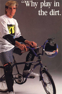 Joe Johnson, the inventor of the tailwhip air, in a GT Bicycles ad from 1989, featuring the GT bars that Scerbo rode for many years.
