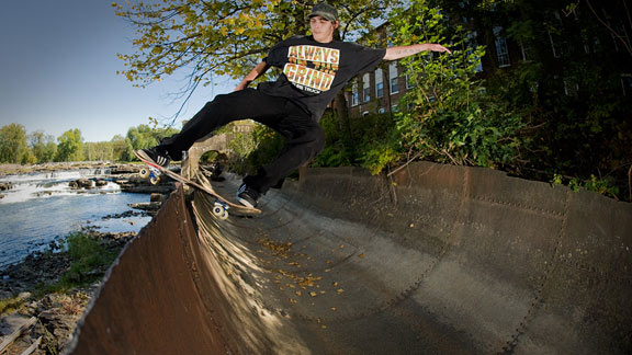 Dave Bachinsky finds an amazing, scenic spot to dip into a frontside disaster.