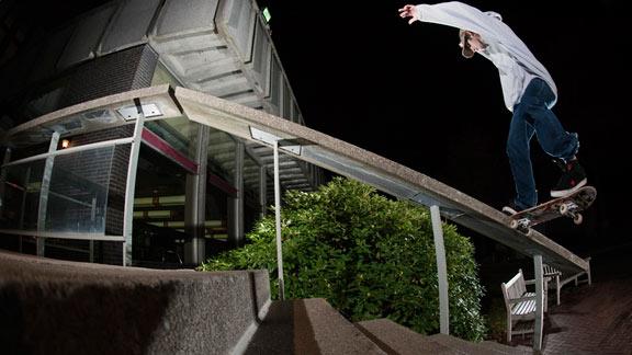 Dave bachinsky locks into a lengthy frontside noseslide.