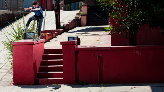 Donovan Piscopo uses man-sized snaps to get his littler frame into a heavy nosebluntslide.