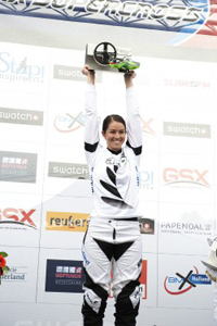 New Zealand's Sarah Walker on the podium after winning the elite women class at the UCI Supercross Papendal stop.