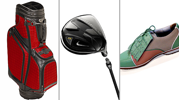 Gear up for golf with the following items: From left, Burton Siena ladies golf cart bag, Nike SQ Machspeed Black Driver and Equipt for Play golf shoes.