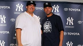 Lopez shared a postgame smile with Jeter.