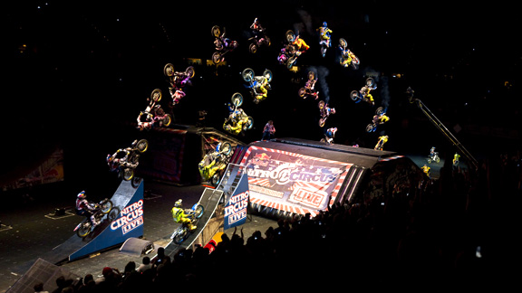 Travis Pastrana and Cam Sinclair made history at the Las Vegas Nitro Circus Live show by being the first to pull simultaneous double backflips. The show was hands down Porra's biggest success Stateside.