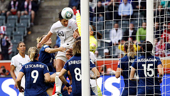 Abby Wambach scores yet another header during the U.S.-France semifinal, a goal that gave her team the lead -- and the W.