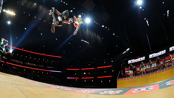 In his triumphant return to the top of the podium at X Games for the first time since 2007, Shaun White bested rival PLG in Skateboard Vert to grab the gold. White stuck a bevy of tricks including a heelflip body varial frontside 540 to seal the deal.