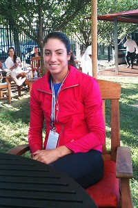 Christina McHale poses outside the players' lounge after her second-round win Wednesday.