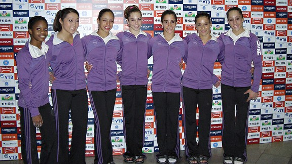 Team USA: From left, Gabrielle Douglas, Anna Li, Sabrina Vega, McKayla Maroney, Alexandra Raisman, Alicia Sacramone and Jordyn Wieber. (Shawn Johnson not pictured.)