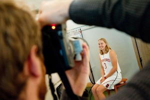 Junior forward Mikaela Ruef poses for her official head shot.