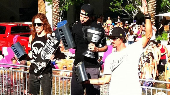 The podium in the Skate Vert finals in Vegas: Shaun White, Pierre-Luc Gagnon, Bucky Lasek.