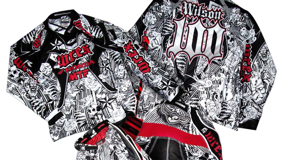 WREX Racing will make your custom gear as crazy as you want it. Here's a full set of custom moto gear, which includes the pant and jersey.