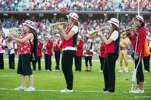 Toni Kokenis' mellophone playing and marching aren't perfect, but with the Stanford band it's all about fun.