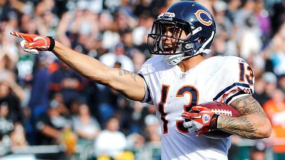 Caleb Hanie threw to Johnny Knox 10 times last week, and will look to his new favorite target frequently against the Chiefs.