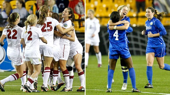 Stanford, left, and Duke had plenty of reasons to celebrate in their respective semifinal games Friday.