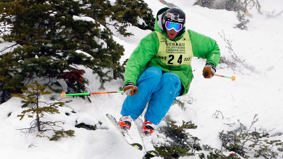 Ryan Hawks competing on the Freeskiing World Tour in 2011.